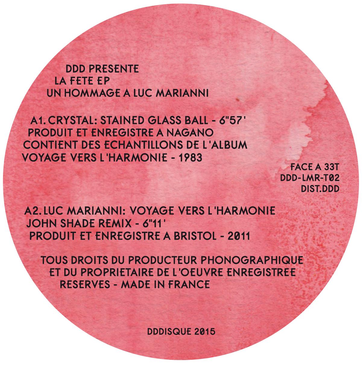 DDD présente La Fête EP: un hommage à Luc Marianni